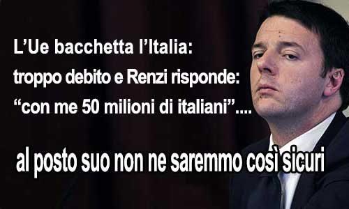 Ue: l'Italia ha troppo debito, Renzi: con me 50…