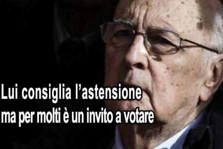 """Napolitano invita a non votare, per i sondaggi è un effetto """"boomerang"""""""