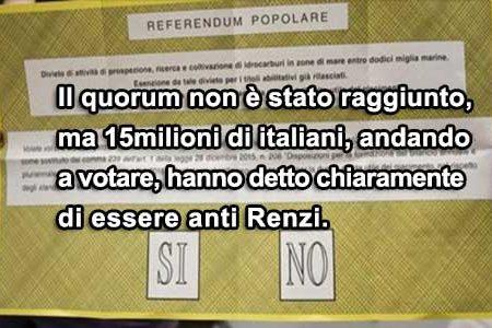 Referendum: il quorum non c'è, il fronte anti Renzi si