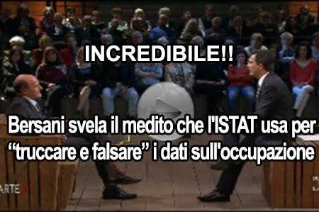 """Bersani spiega come l'ISTAT """"trucca e falsa"""" i dati sull'occupazione"""