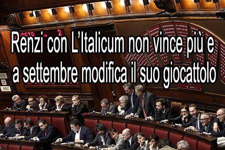 """Renzi è alla """"frutta"""" e a settembre cambia l'Italicum"""
