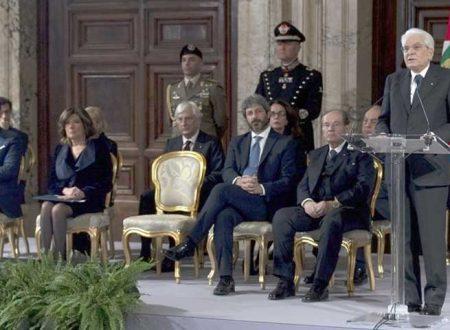 Scambio degli auguri di fine anno con brindisi al Quirinale tra il Presidente Mattarella e le alte cariche dello Stato
