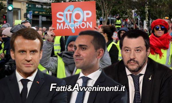 Scontro tra Italia e Francia: Di Maio incontra i Gilet gialli, Macron non vuole più i migranti economici e Salvini tuona